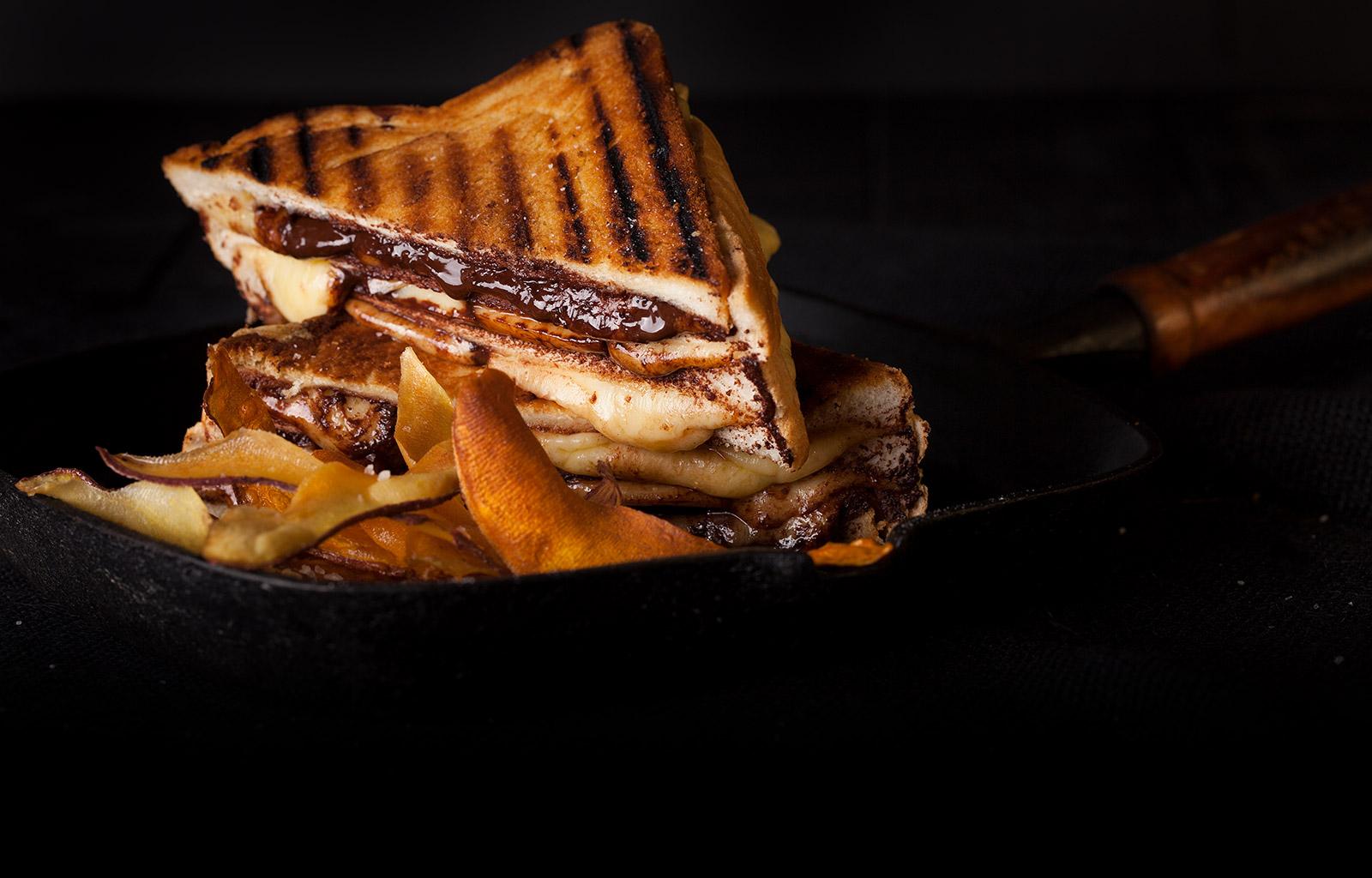 Cheese & Chocolate Toastie with Kumara Crisps   Cheese ...