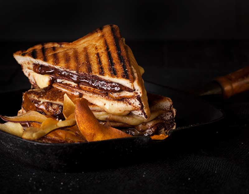 Cheese & Chocolate Toastie with Kumara Crisps